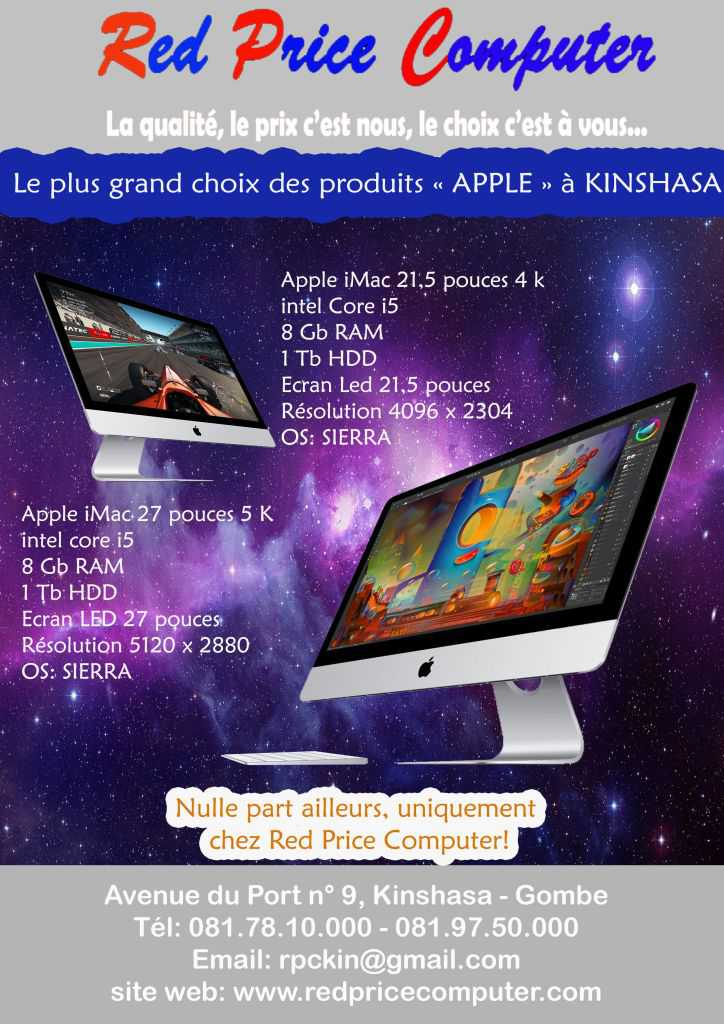 RED PRICE COMPUTER | LES ORDINATEURS FIXES ALL IN ONE APPLE IMAC 4K et 5K